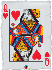 Red Hearts Queen Playing Card Super Shape Foil Balloon
